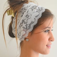 white lace headband stretchy hair band wedding accessories bridesmaid gifts