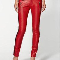 Blank Denim Red Vegan Leather Moto Skinny Jeans | Piperlime