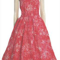 50s Look Vintage 80s Red Cotton Sundress
