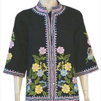 Daisy's Creations 70s Vintage Black Hippie Top