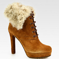 Gucci - Suede Fur-Trimmed Platform Ankle Boots