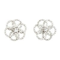 Rhinestone Flower Stud Earrings: Charlotte Russe