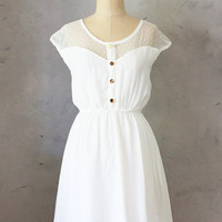 PETIT DEJEUNER in CREAM -  Ivory White Chiffon Dress with Polka Dot Lace // brides // reception dress // weddings // engagement photos