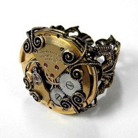 Steampunk Ring Vintage Gold Ruby Jeweled RARE Watch Ring Torch Soldered Adjustable Band STUNNING GIFT Steampunk Jewelry by edmdesigns
