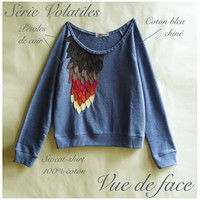 Blue cotton sweat shirt embroidered with leather by LeBestiaire