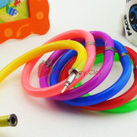5 x Fun Plastic Bangle Writing Blue Ball Pen Bracelet Fashion Gift Candy Colors
