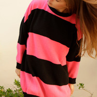 90s simple STRIPED pink &amp; blue grunge SLOUCHY warm sweater