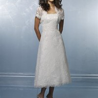 Cute A-line Straps Mini Sleeveless Lace Short Wedding Dress-$456.99-ReliableTrustStore.com