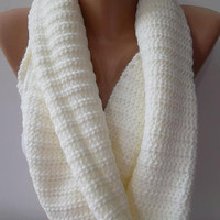 NEW Infinity Scarf  Circle Scarf   Knit Fall Scarf   Pearl color
