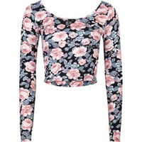 FULL TILT Floral Womens Fitted Crop Top 210672149 | Knit Tops &amp; Tees | Tillys.com