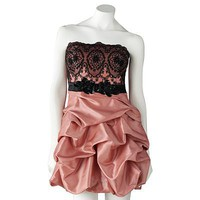 Trixxi Lace Bodice Pick Up-Style Strapless Dress