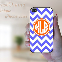 Monogrammed iPhone 4 case - Violet Blue and White Chevron with Orange Monogram Iphone 4 hard case iPhone 4S case