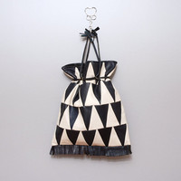 1980s Geometric Black and White Triangle Purse with Drawstring
