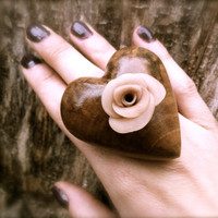 wooden big ring unique wood statement jewelry woodworking wooden heart adjustable eco-friendly
