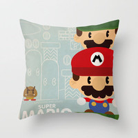 mario bros 2 fan art Throw Pillow by Danvinci | Society6
