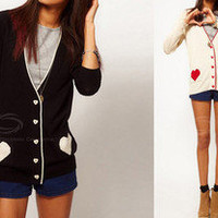 V-Neckline Cordiform Pattern Pocket Cotton Blended Knitwear Cardigan Sweater New