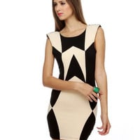 Motel Bambi Dress - Color Block Dress - Black Dress - $66.00