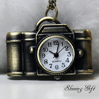 Cute Camera Pocket Watch Pendant Necklace by Shininggift on Etsy
