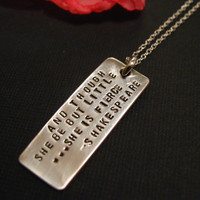 She Is Fierce, Shakespeare Necklace, Quote Jewelry, Jewelry with Message, Personalized Necklace, Personalized Jewelry