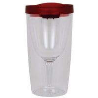 Vino2Go Double Wall Clear Acrylic Tumbler with Red Lid | www.deviazon.com