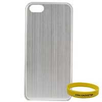Dealgadgets® Brushed Aluminum Metal Plated Skin Hard Case Cover for Apple iPhone 5 5G with Free Wristband from Dealgadgets (Silver) | www.deviazon.com