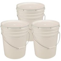 5 Gallon White Bucket & Lid - Set of 3 - Durable 90 Mil All Purpose Pail - Food Grade - BPA Free Plastic - | www.deviazon.com
