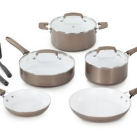 WearEver C944SA64 Pure Living Nonstick Ceramic Coating PTFE-PFOA-Cadmium Free Dishwasher Safe 10-Piece Cookware Set, Champagne Gold | www.deviazon.com