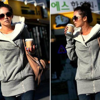 Women 2012 Korean with wool fleece lamb side zipper hooded