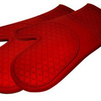 Kitchen Elements Ultra-Flex Red Silicone Kitchen Cooking Mitt, Pack of 2 | www.deviazon.com
