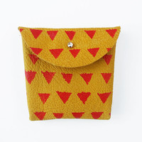 COIN PURSE // mustard yellow with red triangles