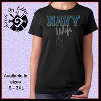 Rhinestone MILITARY Womens T Shirt or Tank  S-3XL Army Navy Air Force Marine Coast Guard Your Choice Wife Mom Girlfriend Proud with Dogtags