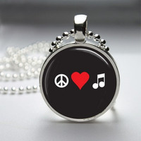 Photo Art Glass Bezel Pendant Music Necklace