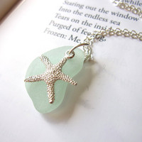 Starfish necklace with Seafoam Blue seaglass - Perfect nautical Jewelry for girlfriend, sister, mom or a beach lover