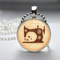 Photo Art Glass Bezel Pendant Vintage Sewing Machine Necklace