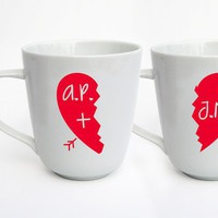 Half Heart Personalized set of 2 LIMITED TIME by modernmadness