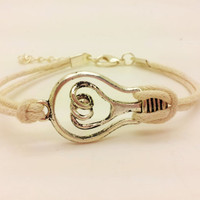 silvery unique bulb bracelet white ropes bracelet women ropes bracelet  men ropes bracelet  1482A
