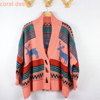 Bohemian Women's Batwing Sleeve Sweater Deer Striped Knitwear Poncho Cardigan