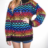 Vintage 1980s Oversized Multicolored Heavy Fold-over Collared Sweater
