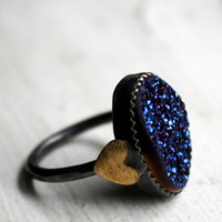 Midnight Disco Drusy with Hearts in by RachelPfefferDesigns