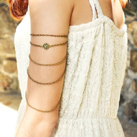 Armlet Slave Bracelet Arm Bracelet Hipster Body Gypsy Jewelry Piece Emerald Charm Bronze Chain Drape