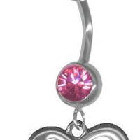 Infinity Belly Button Ring-Rose Pink Jeweled 14 gauge 3/8 Barbell Navel Ring Body Jewelry with Infinity Charm-Figure 8