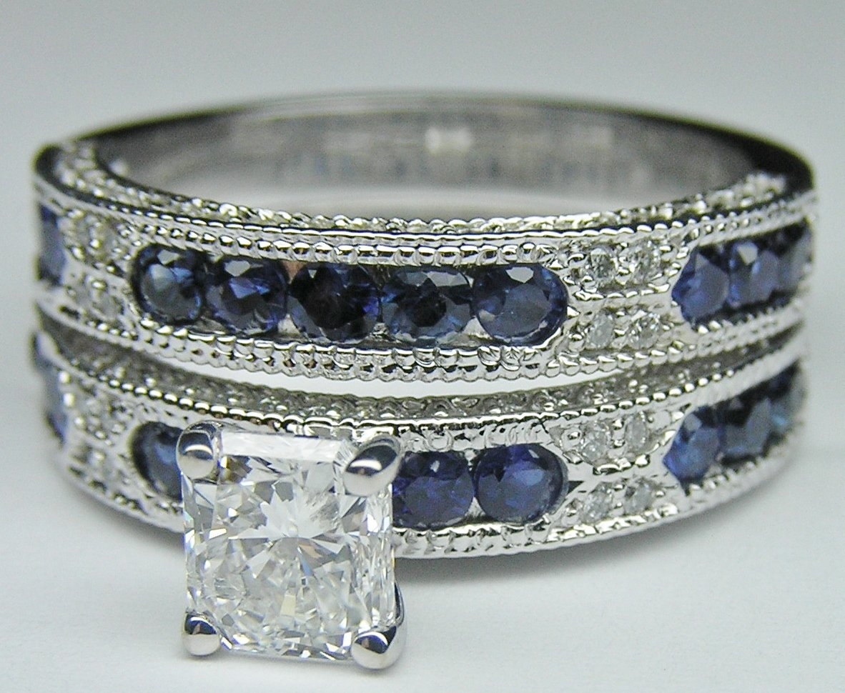 Engagement ring radiant cut diamond from mdc diamonds for Wedding ring sets with sapphire accents