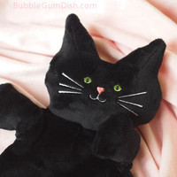 "Cute Halloween Black Cat Plush Softie ""Flat Little Black Kitty Cat"" Minkie MEOW"