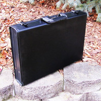 vintage black leather Atlas briefcase. Imported Irish Hand Leather. black leather case. lawyers case. gadget case