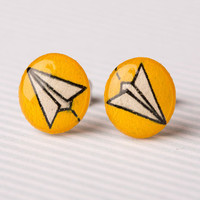 Paper Airplane Post Earrings in Yellow