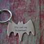 hand stamped superhero copper batman keychain