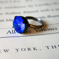 Vintage Sapphire Glass Jewel Ring, Czech Glass, Oxidized Brass, Deep Blue, Estate Style Ring, Holiday Gift, Stocking Stuffer