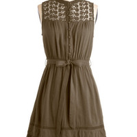 Mount San Jacinto Dress in Olive | Mod Retro Vintage Dresses | ModCloth.com