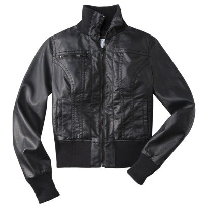 Xhilaration® Junior's Faux Leather PU Jacket w/ Knit Trim -Assorted Colors