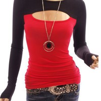 Patty Women Sexy Keyhole Long Sleeve Blouse Top (Red L)